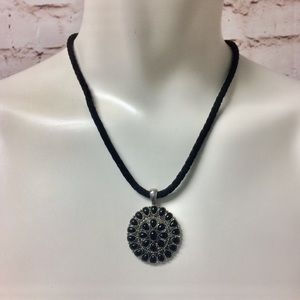 Chaps Black Cord Necklace with Round Pendant